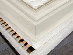 Serene 2.0 Natural Latex Mattress Cut-Away-View Shown with included Flexible Slat Base